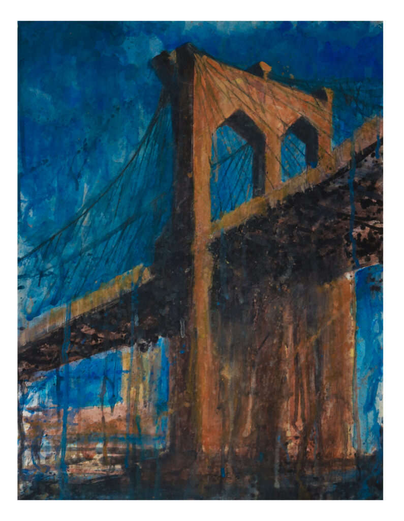 Brooklyn Bridge artist Valeria Kharlamova watercolor 2018