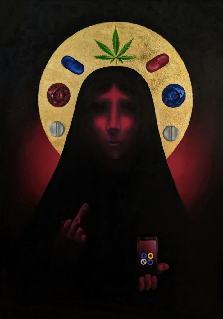 The Religion of the 21st Century artist Valeria Kharlamova oil on canvas gold leaf 2020