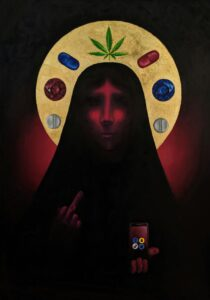 The Religion of the 21st Century artist Valeria Kharlamova oil on canvas gold leaf 2020